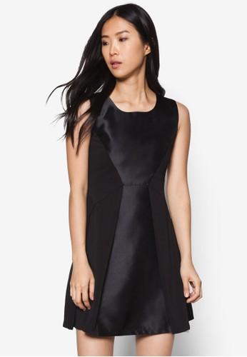 褶飾拼zalora 鞋評價接連身裙, 服飾, 洋裝