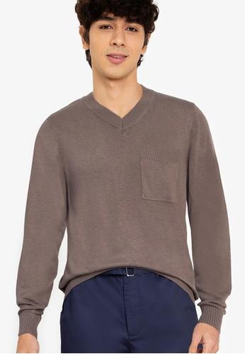 ZALORA BASICS brown V-Neck Patch Pocket Knitwear A85FCAAD344784GS_1