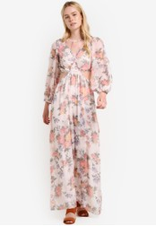 TOPSHOP white and multi Crinkle Floral Maxi Dress TO412AA32RGXMY_1