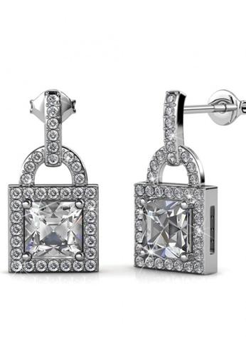 Her Jewellery silver Swarovski® Crystals - Sweet Lock Earrings (18K White Gold Plated) Her Jewellery HE581AC0RAF7MY_1