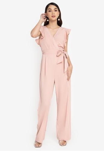 ZALORA WORK pink Flutter Sleeves Wrap Jumpsuit E902CAA3F366D9GS_1