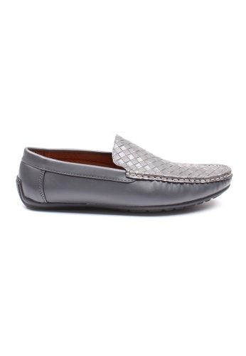 Moley grey Weave Pattern Loafers 7AE97SH885ED96GS_1