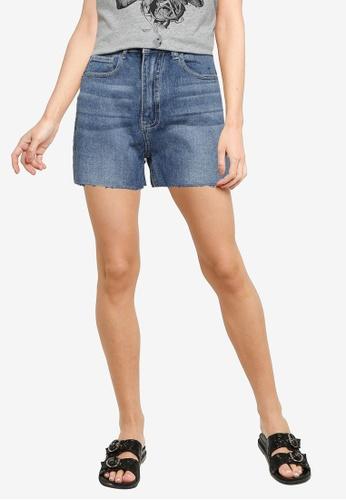 JACQUELINE DE YONG blue High Waist Denim Shorts 49D0BAA5023AC1GS_1