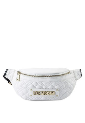 Love Moschino white Diamond Quilted Waist Pouch 212A3ACC4DCCA6GS_1