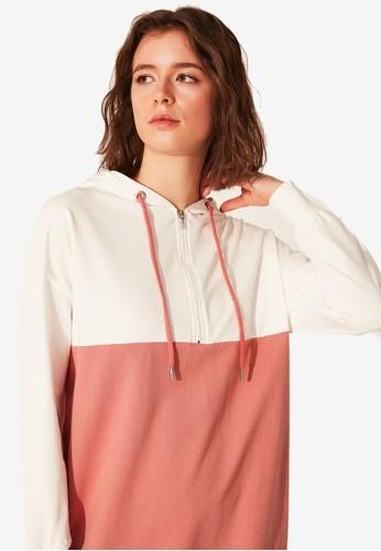 LC Waikiki pink Color Block Hooded Oversize Sweatshirt 9DA07AAED46D31GS_1