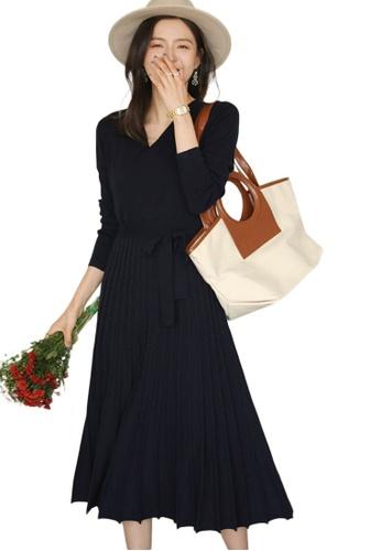 Sunnydaysweety 藍色 收腰百褶大擺針織連身裙 A092209DGBL B18D8AA8BDDC97GS_1