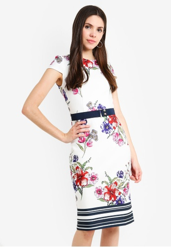 1d965f82 Buy Dorothy Perkins Floral Scuba Belted Pencil Online on ZALORA Singapore
