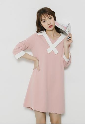 Shopsfashion pink Sailor Collar Shift Dress SH656AA20SMLSG_1