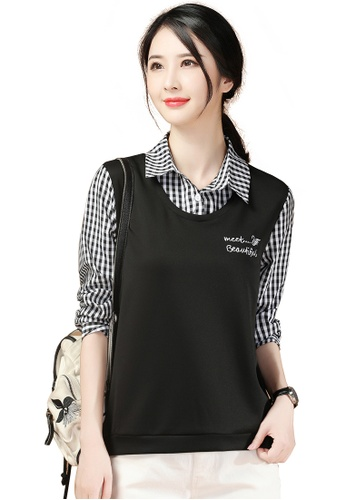 A-IN GIRLS black and white Two-Layers Checkered Stitching Top 90061AA5F5B39FGS_1