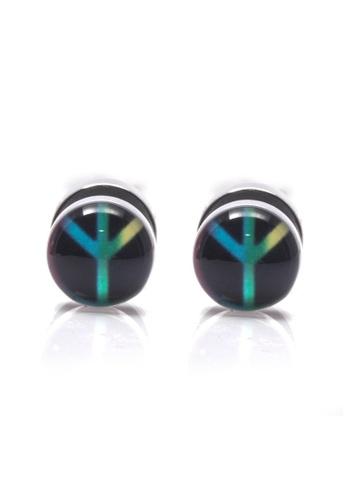 Silverworks black Peace Sign Fake Tunnel Earrings B629FACA6151F4GS_1