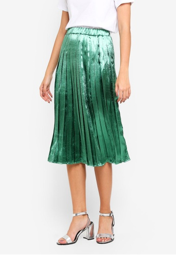 bYSI green Pleated Midi Skirt 0058DAA558D8AEGS_1