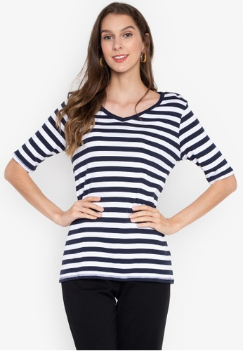 MARKS & SPENCER navy Pure Cotton Striped V-Neck T-Shirt 2B8ACAA024B808GS_1