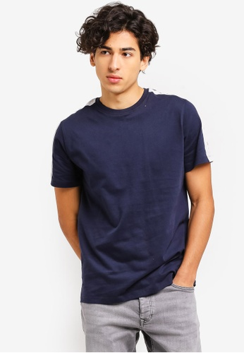 Topman 海軍藍色 條紋T恤 C407CAAD4999EBGS_1