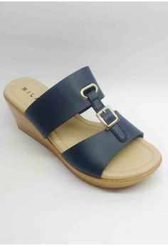 Casual two Strap Mid Wedge Sandal