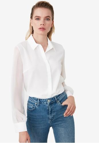 Trendyol white Basic Sheer Sleeved Shirt 69B8CAA06BCE3DGS_1