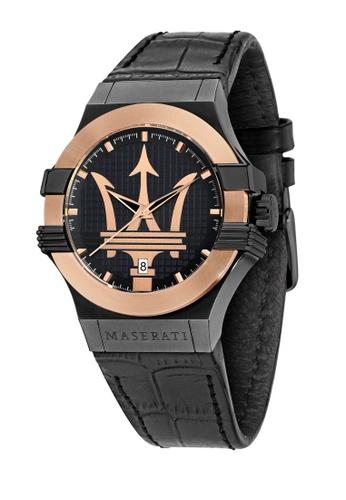 Maserati black Potenza Quartz Watch Black Leather R8851108032 984D1AC3CCCD6FGS_1