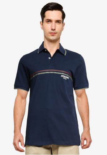 Jack & Jones navy Shaker Polo Shirt E3FF4AAD9E8EF4GS_1