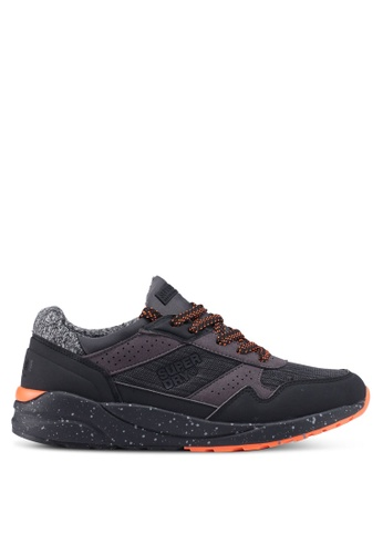 Superdry black and orange Superdry Street Runner Sneakers 3DF81SH687DA56GS_1
