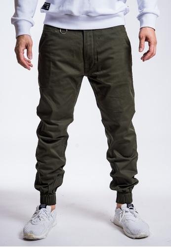L.I.M.I.T.E 綠色 斜紋布拼迷彩束腳褲 BB3FCAAA5CE0A7GS_1