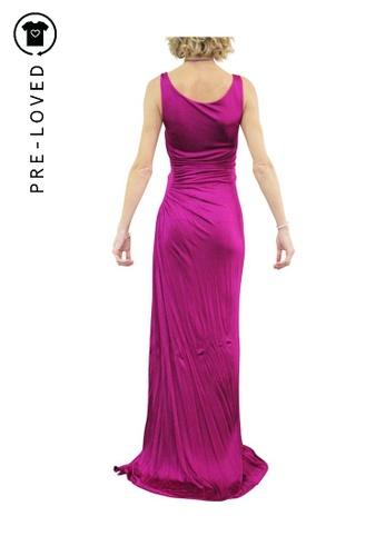 Roberto Cavalli purple roberto cavalli Long Purple Draped Dress with Broche embellishment 46F86AA355CED9GS_1