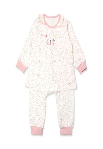 Organic mom pink Girls Sleepy Cat Pajamas 86BA5KA8E2A074GS_1