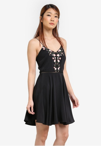 Something Borrowed black Embroidered Cami Fit And Flare Dress 91D59AA17D0832GS_1