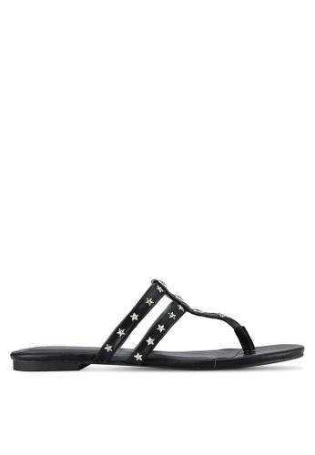 Something Borrowed black Studded Thong Sandals 25022SHF2FC719GS_1