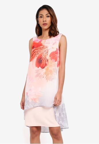 Wallis pink Pale Pink Floral Print Chiffon Overlay Dress D328BAA88349F1GS_1