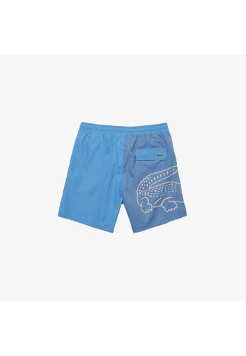 Lacoste blue Men's Bicolour Crocodile Print Swimming Trunks 558C9USD662ACDGS_1