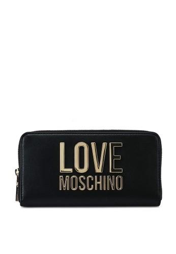 Love Moschino black Love Logo Long Zip Around Purse 2AA02ACB905BA5GS_1