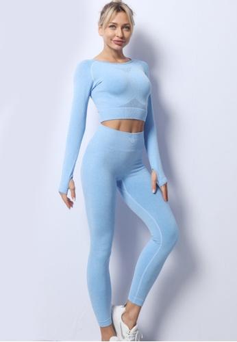 Twenty Eight Shoes blue VANSA Pure Color Long-Sleeved Yoga Set  VPW-YAM680 B6C7BAACA11DE8GS_1