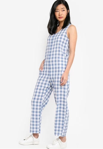 Something Borrowed blue Gingham Overall Jumpsuit E82BBAA29672E5GS_1