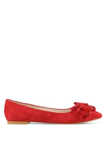 Velvet red Mesh Bow Ballerina Flats 0A114SH6DFBDE8GS_1