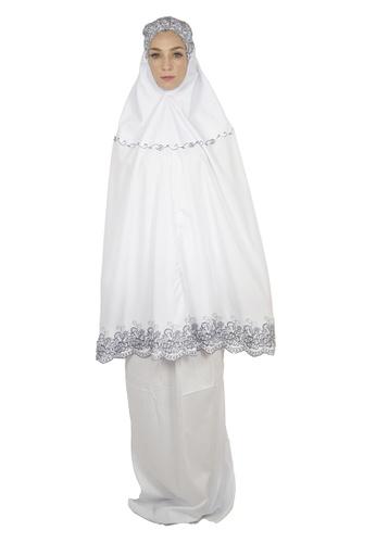 Cantik Butterfly white Sayida Embroidered Telekung Set (White Sulam Grey) C43ACAA98C750BGS_1