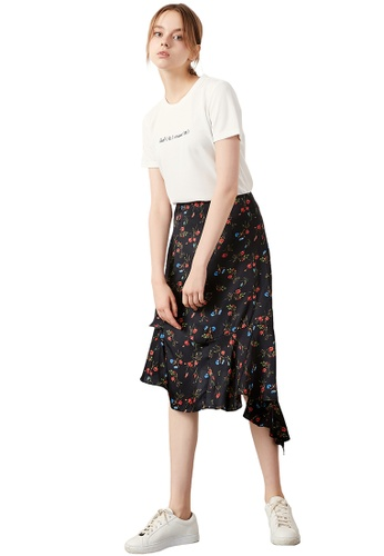 Hopeshow black Ruffle Floral Midi Skirt 3685DAA50E3C8FGS_1