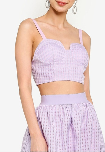 ZALORA OCCASION 紫色 Co-Ord Organza Bralet Top BED2AAA5F56C1AGS_1