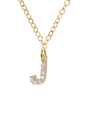 PSYNDROME gold Personalised Initial Letter Alphabet Cubic Zirconia Necklace - J E45BEAC58278AFGS_1