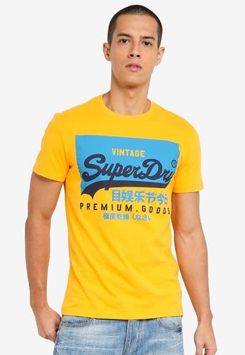 SUPERDRY gold Vintage Label Round Neck Tee 12108AA6555DC5GS_1