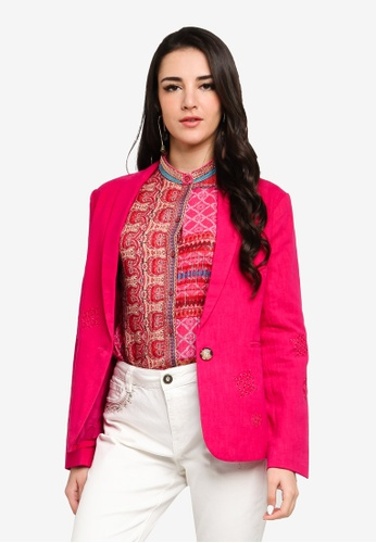Desigual red Arty Floral Print Blazer 1F330AAECD00D1GS_1