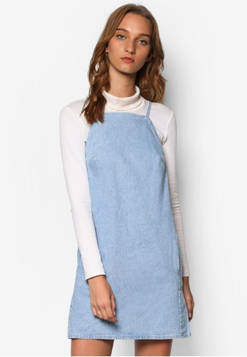 TOPSHOP blue Moto Bleach Square Neck Dress TO412AA42HGBMY_1