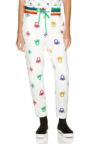 United Colors of Benetton 白色 LOGO設計棉褲 7DE72AA823AACFGS_1