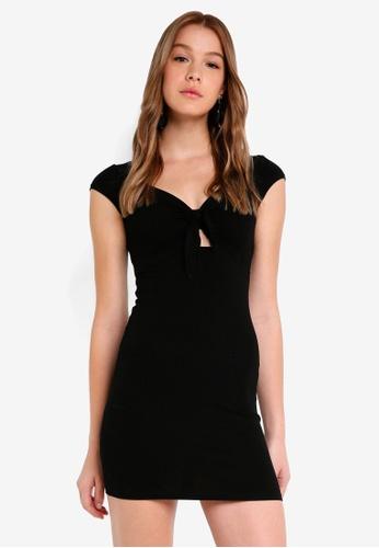 Miss Selfridge black Bunny Tie Rib Dress Black 29971AA1C26C65GS_1