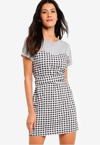 ZALORA multi Mixed Fabrics Dress With Tie 2DB56AAE1E2C3EGS_1