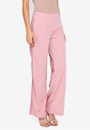 Lubna pink Side Ribbon Straight Cut Pants 39874AAE419001GS_1