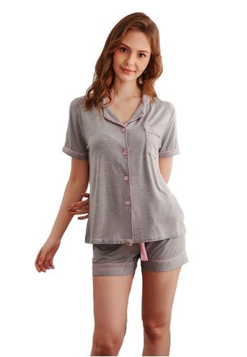 LYCKA 灰色 LCB8031-女士居家休閒睡衣兩件套-灰色 FFF49AAD1F0284GS_1