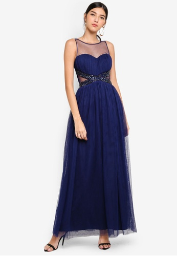 Little Mistress navy Navy Jewel Maxi Dress 3ED90AAA1569D1GS_1