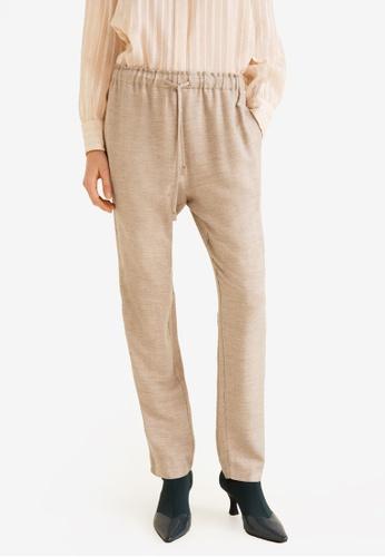 Mango beige Flecked Trousers 209E3AA20CF60EGS_1