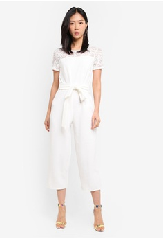 589df189f3c2 Dorothy Perkins white Lace Top Tie Front Jumpsuit BFE1FAA7708B06GS 1