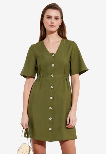 Trendyol green Button Down Flutter Sleeve Dress 16B6FAAB66EA79GS_1