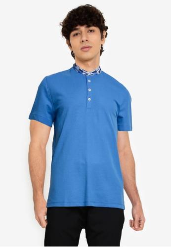 G2000 navy Printed Stand Collar Shirt 80DF9AADDE95D8GS_1